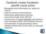 facebook creates facebook specific social action
