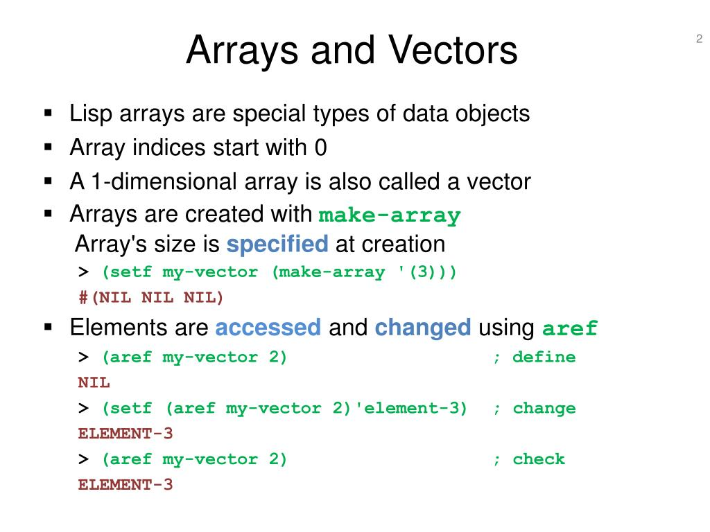 Arrays and Vectors