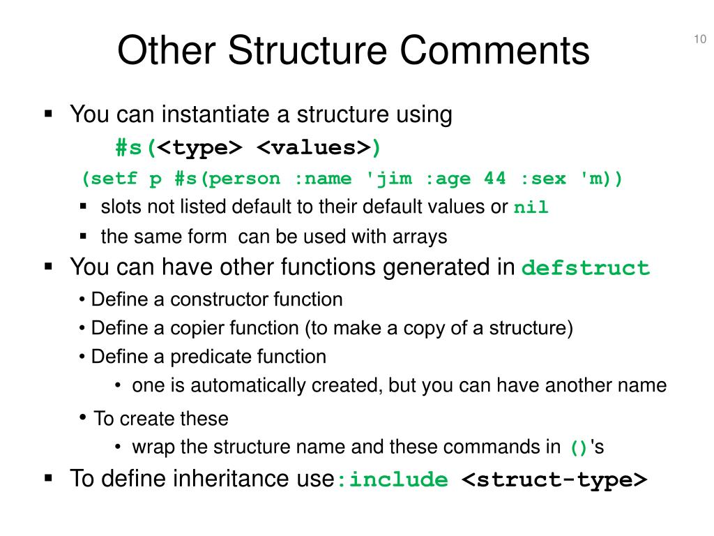 Other Structure Comments
