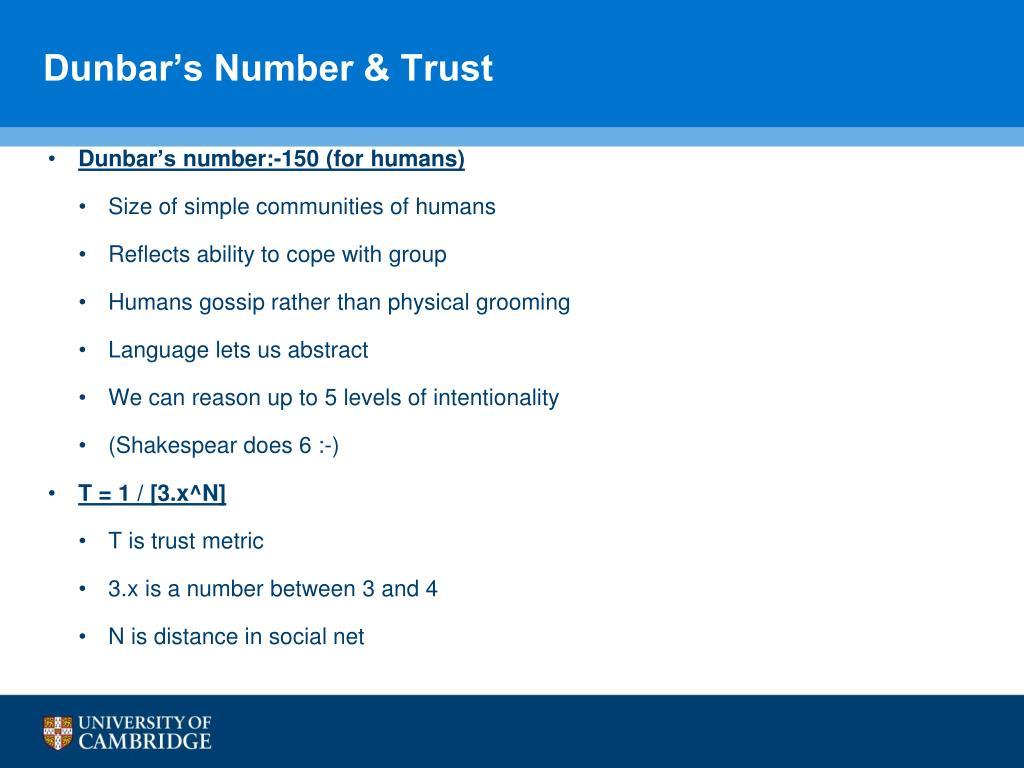 Dunbar's Number & Trust