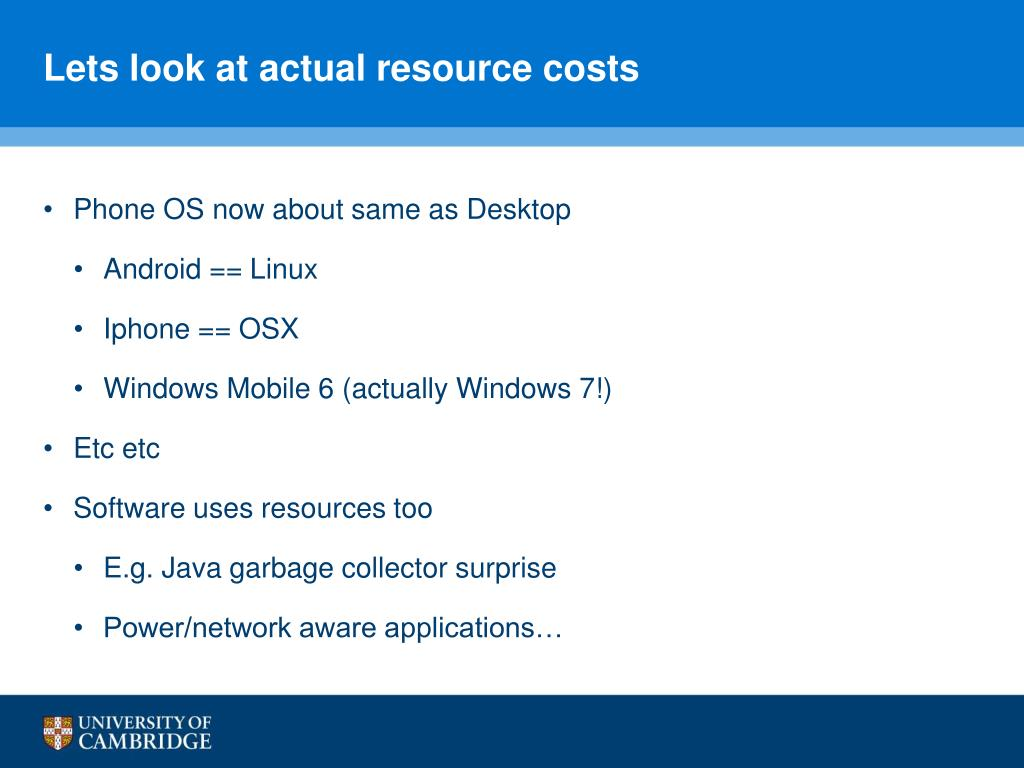 Lets look at actual resource costs