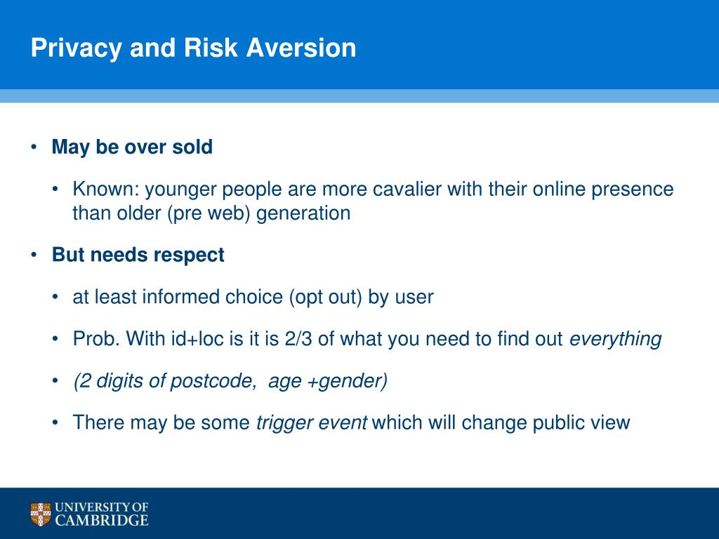 Privacy and Risk Aversion
