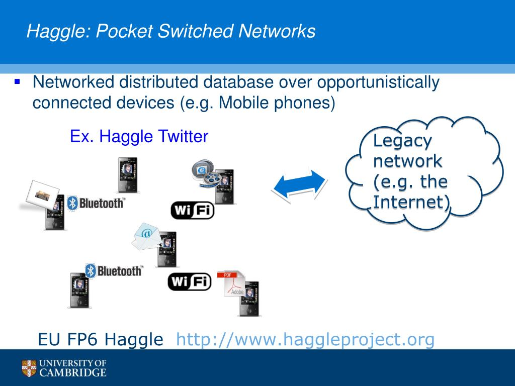 Haggle: Pocket Switched Networks
