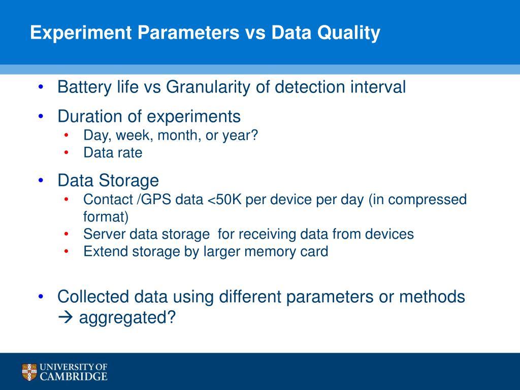 Experiment Parameters