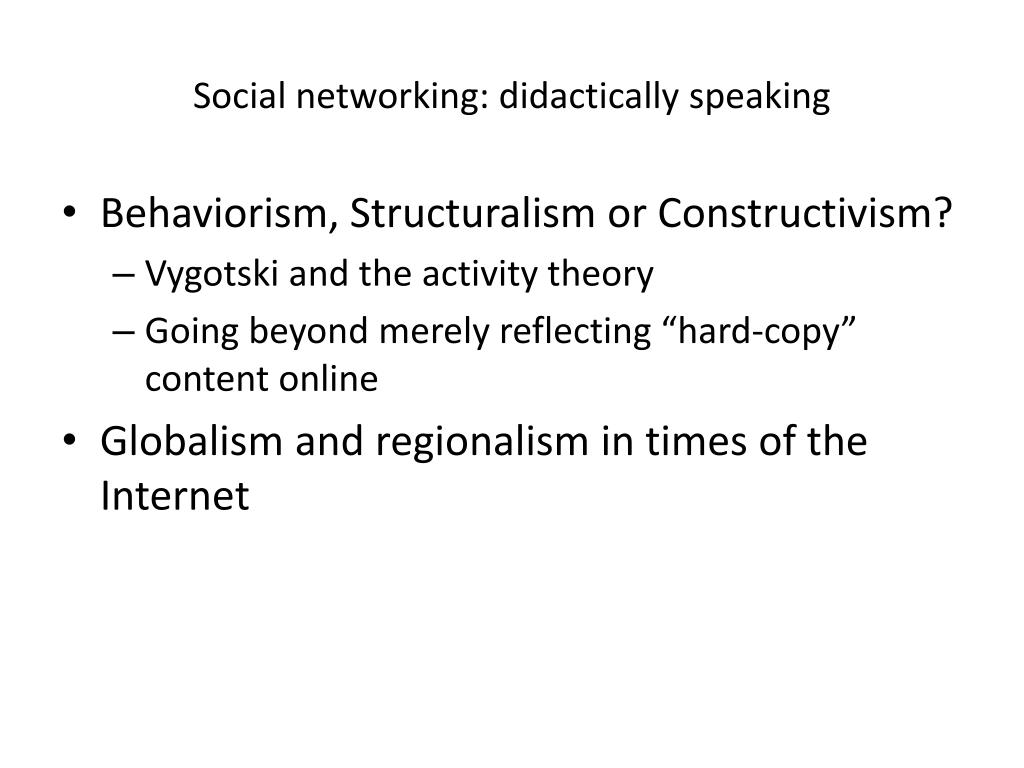 Social networking: didactically speaking