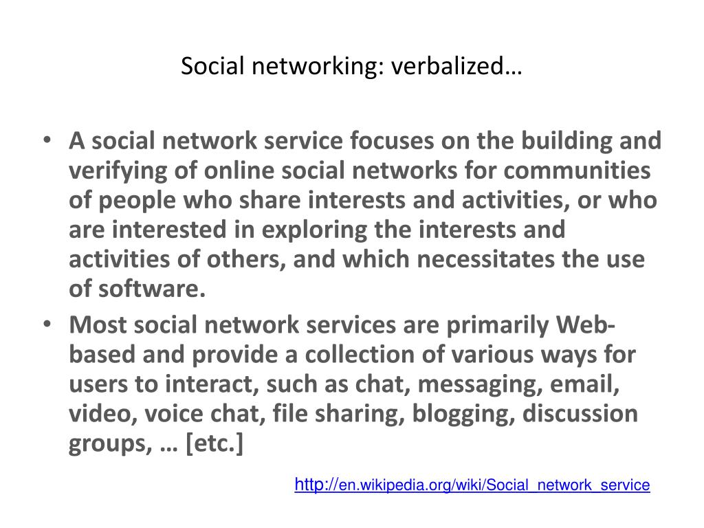 Social networking: verbalized…