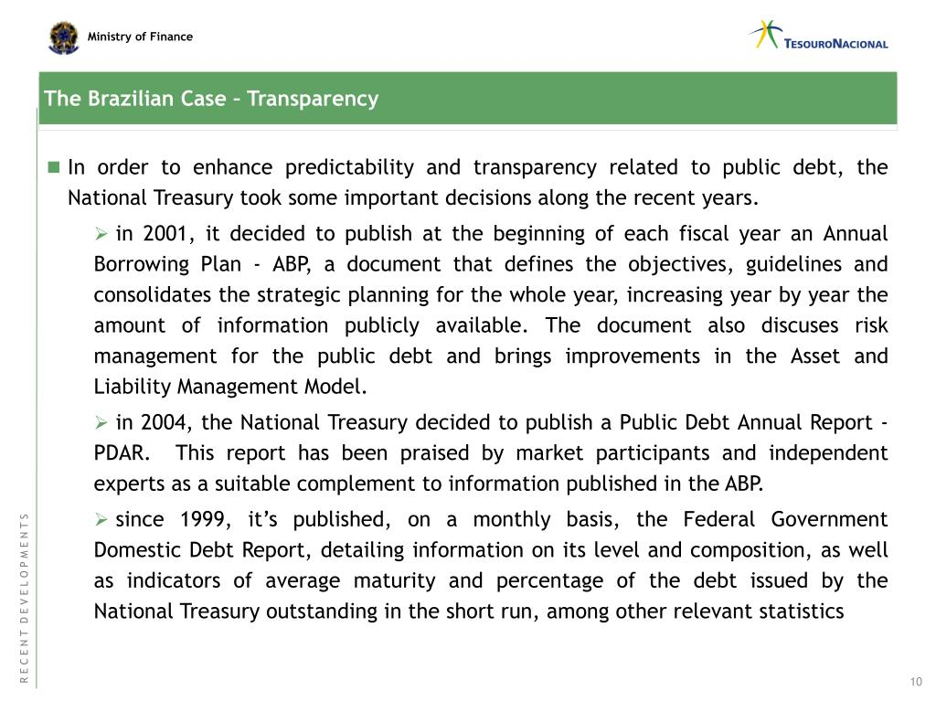 The Brazilian Case – Transparency