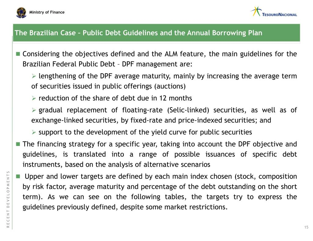The Brazilian Case – Public Debt Guidelines and the Annual Borrowing Plan