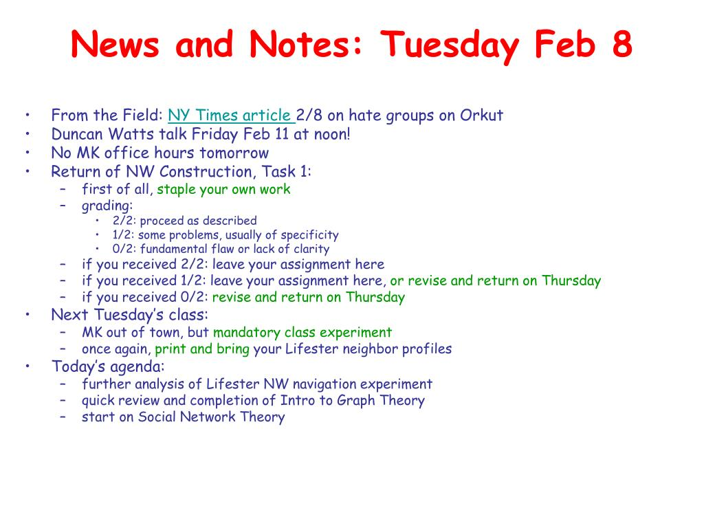 News and Notes: Tuesday Feb 8
