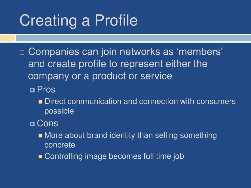 Creating a Profile