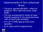implementation in non urbanized areas
