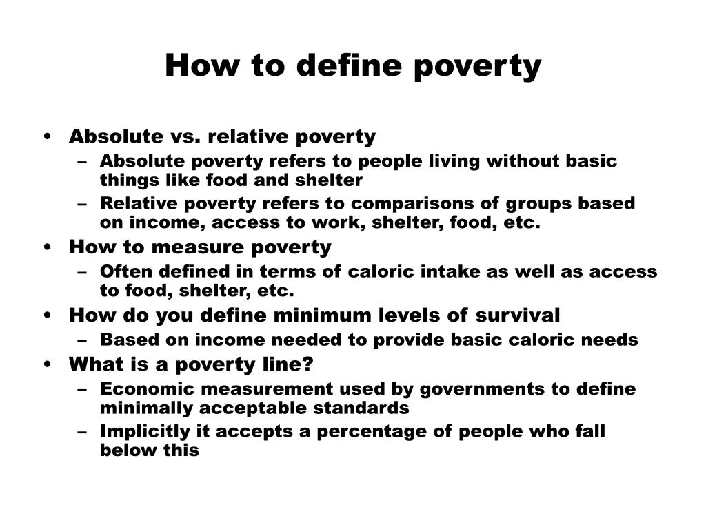 How to define poverty