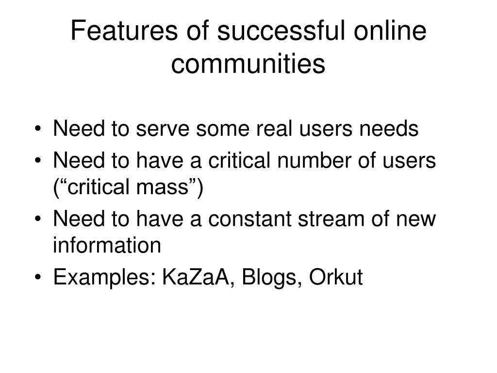 Features of successful online communities