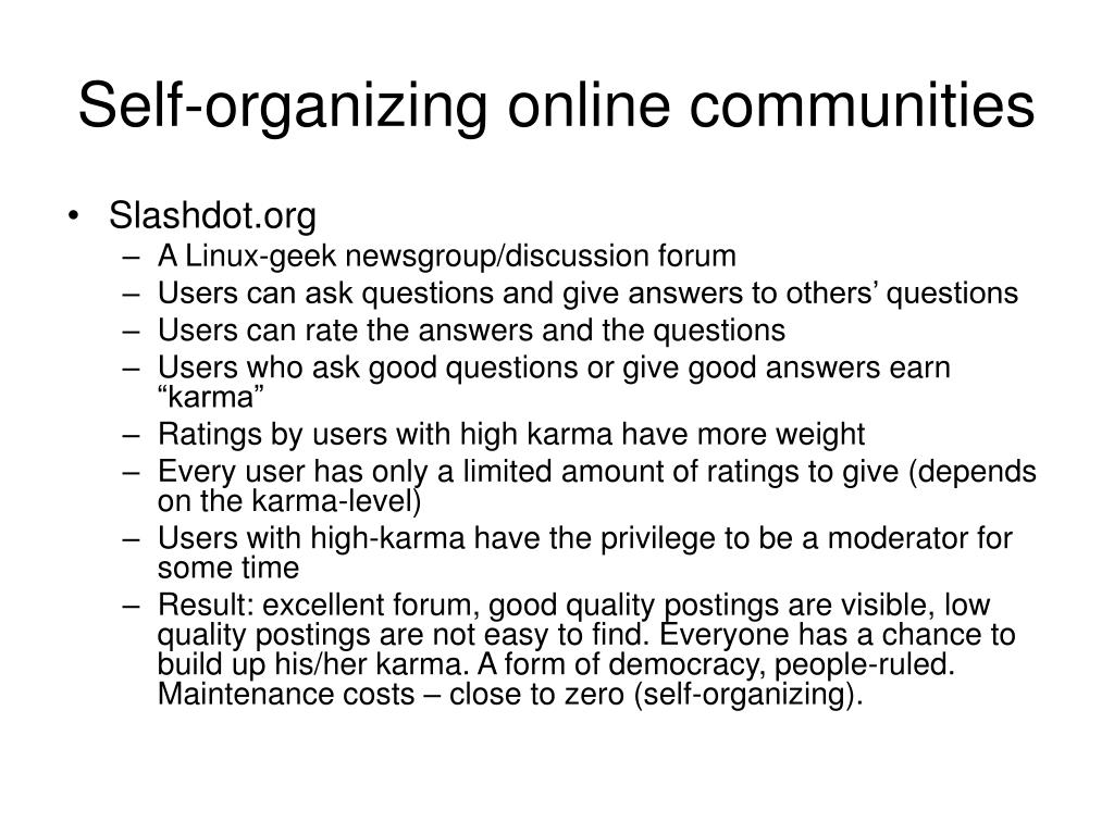 Self-organizing online communities