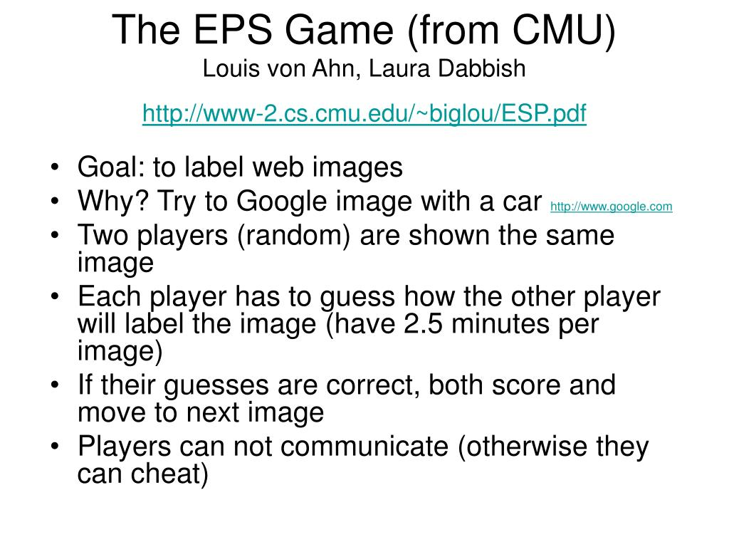 The EPS Game (from CMU)