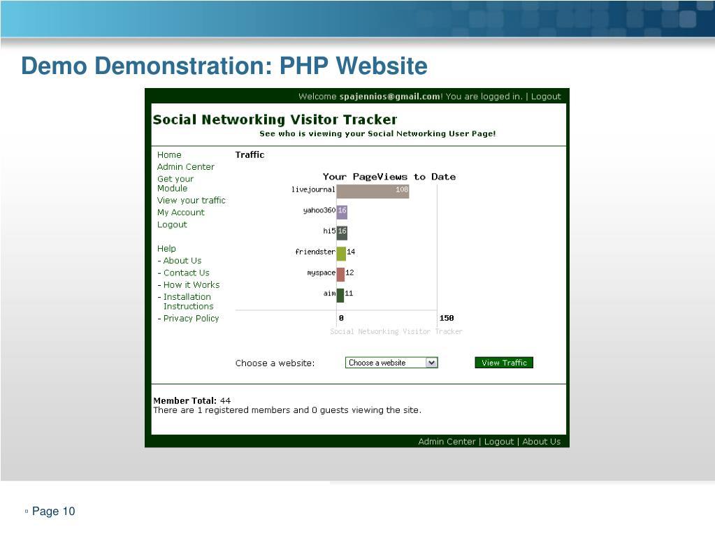 Demo Demonstration: PHP Website