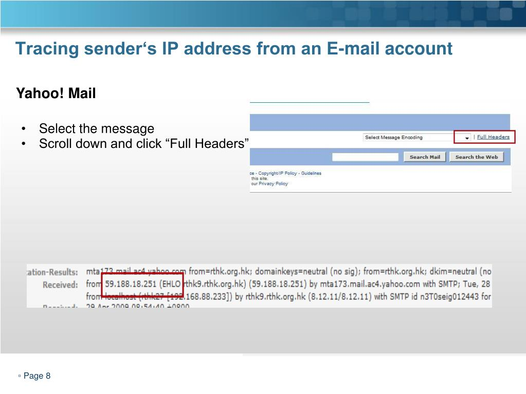 Tracing sender's IP address from an E-mail account