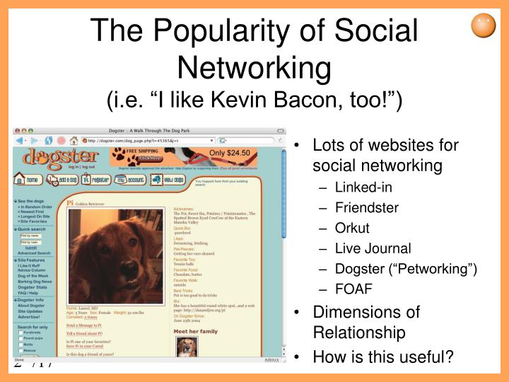 The popularity of social networking i e i like kevin bacon too