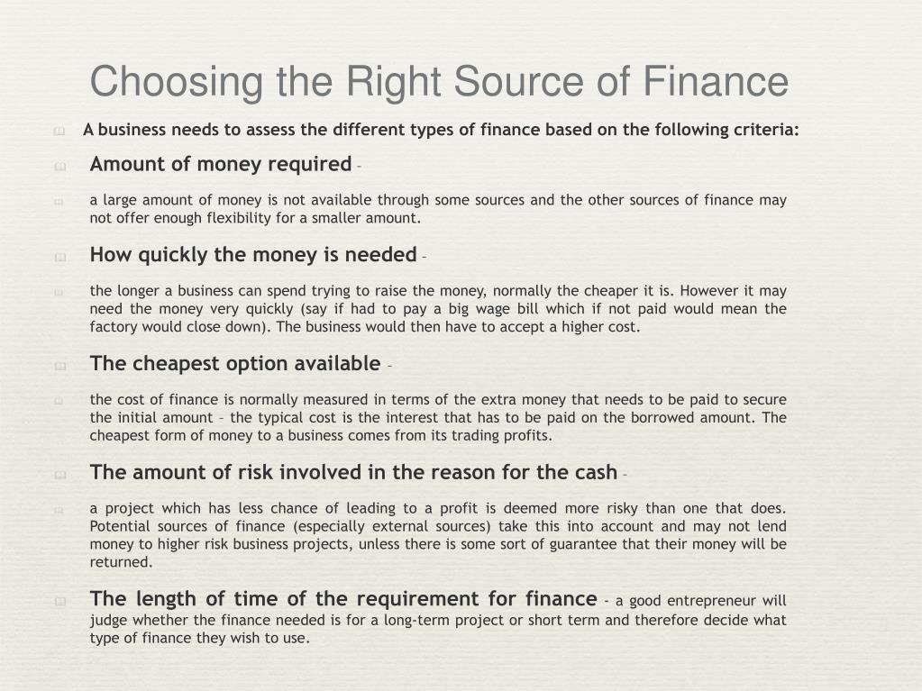 Choosing the Right Source of Finance