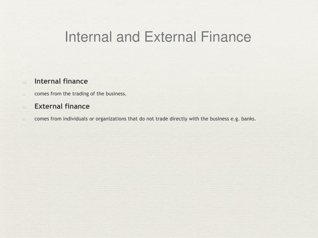 Internal and External Finance
