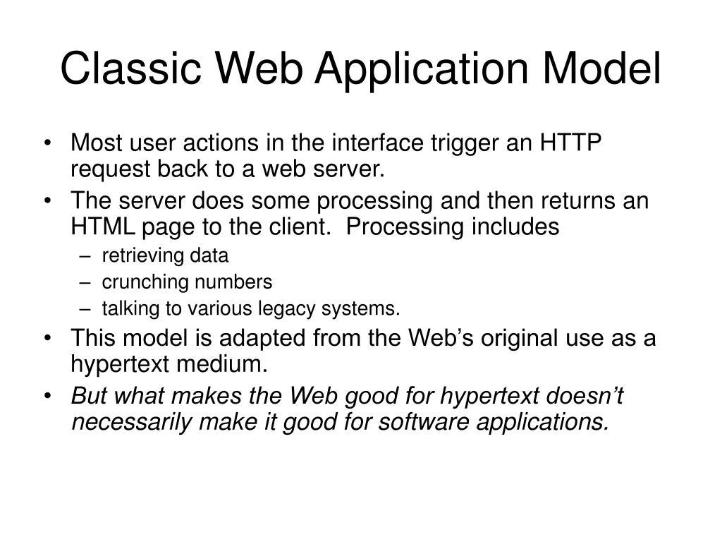 Classic Web Application Model