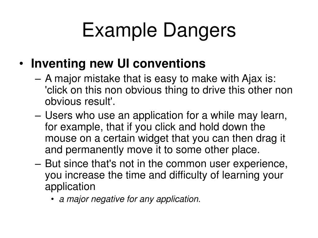 Example Dangers