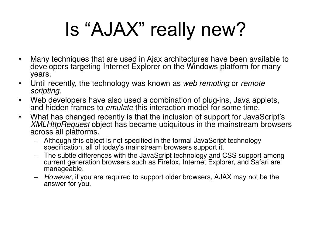 "Is ""AJAX"" really new?"