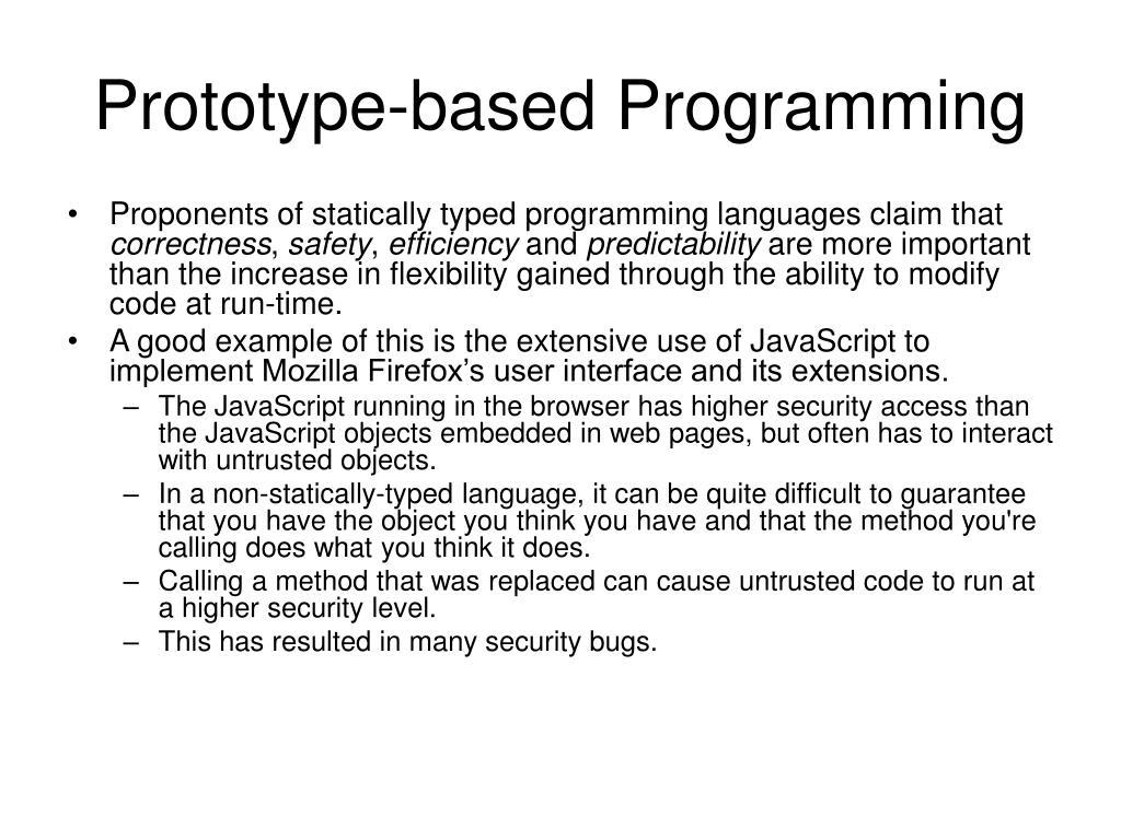Prototype-based Programming