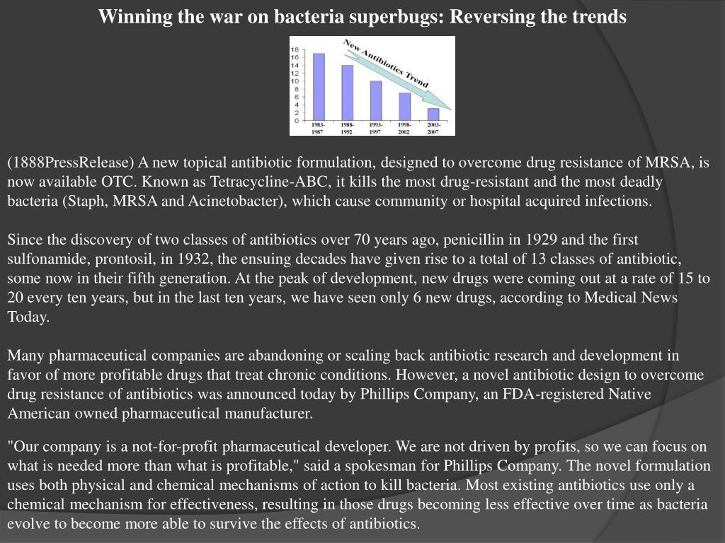 Winning the war on bacteria superbugs: Reversing the trends