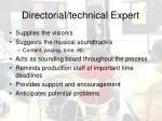 directorial technical expert