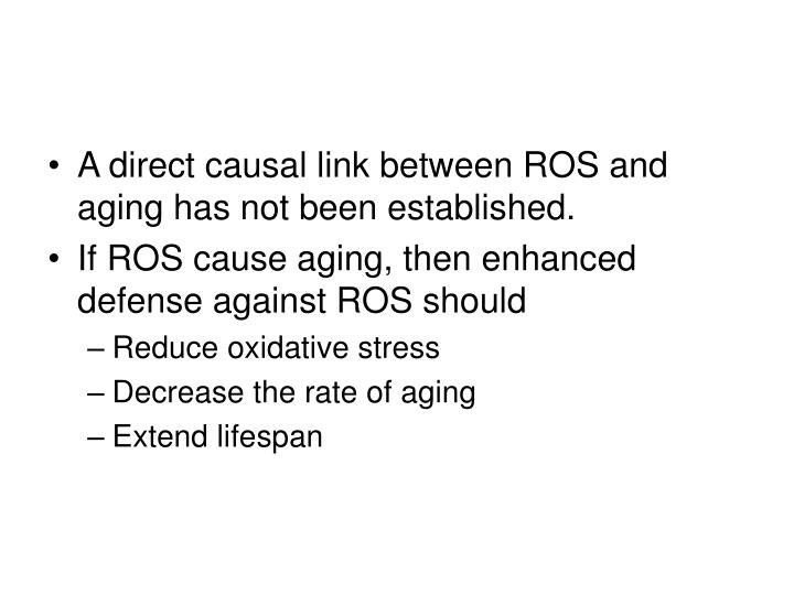 A direct causal link between ROS and aging has not been established.