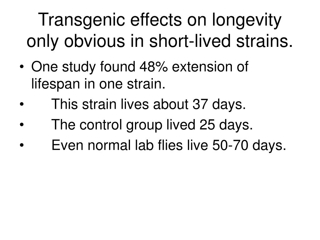 Transgenic effects on longevity only obvious in short-lived strains.