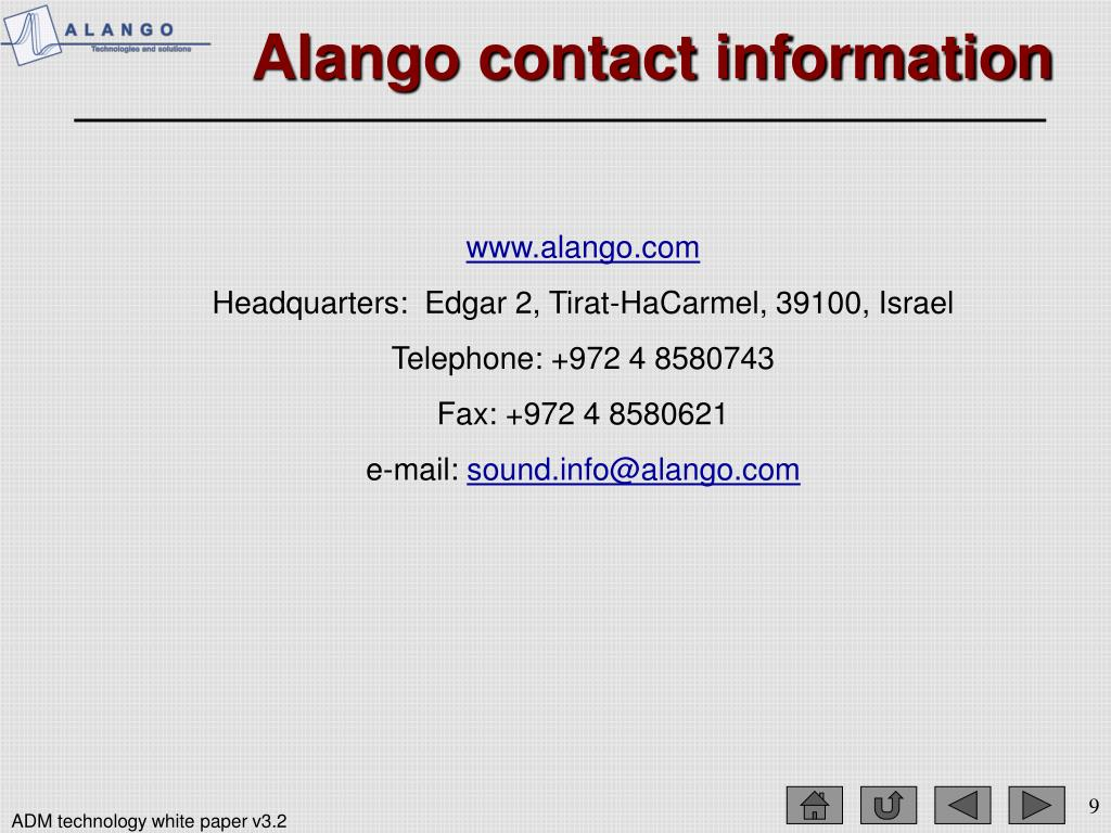 Alango contact information