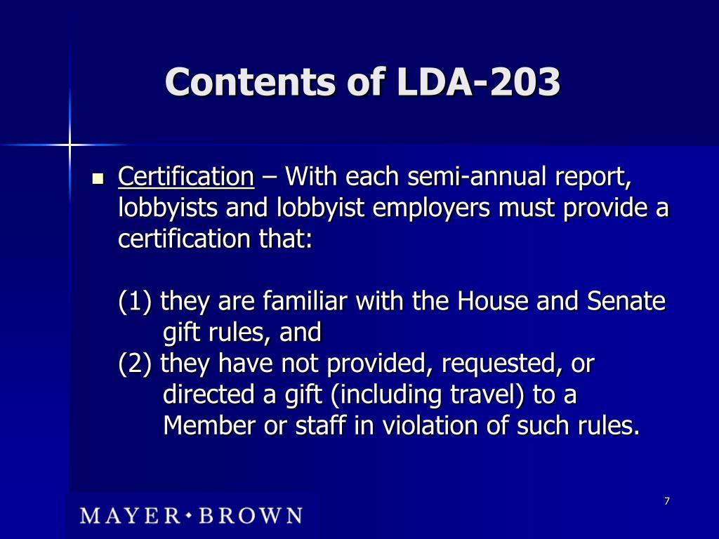 Contents of LDA-203