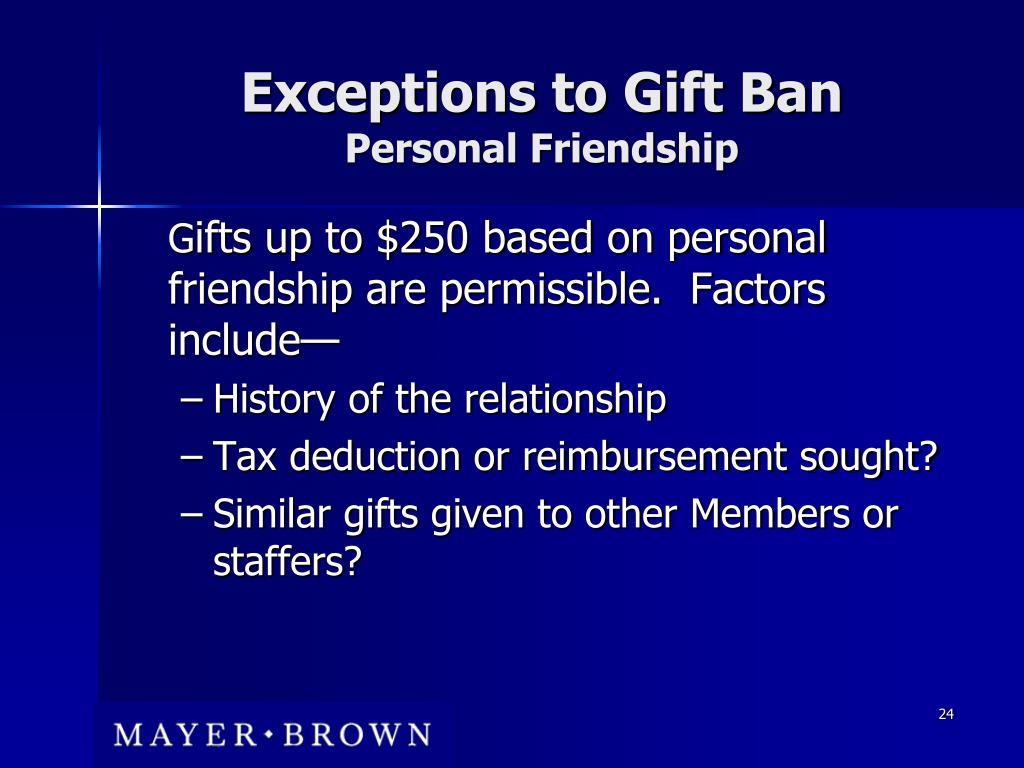 Exceptions to Gift Ban