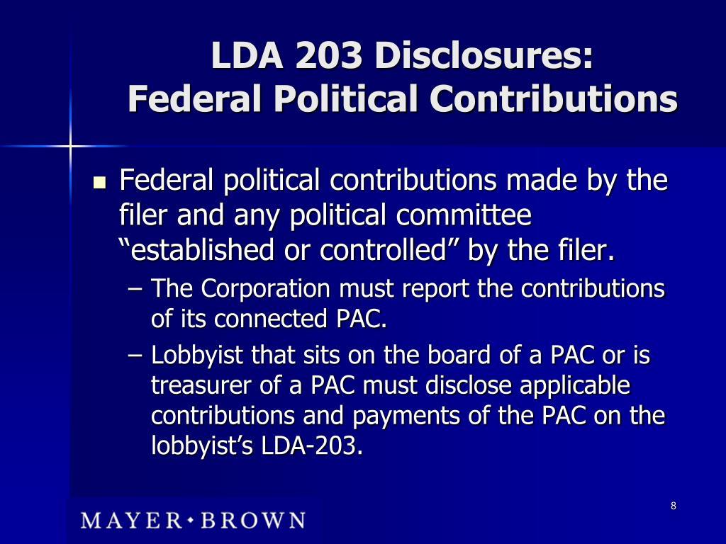 LDA 203 Disclosures: