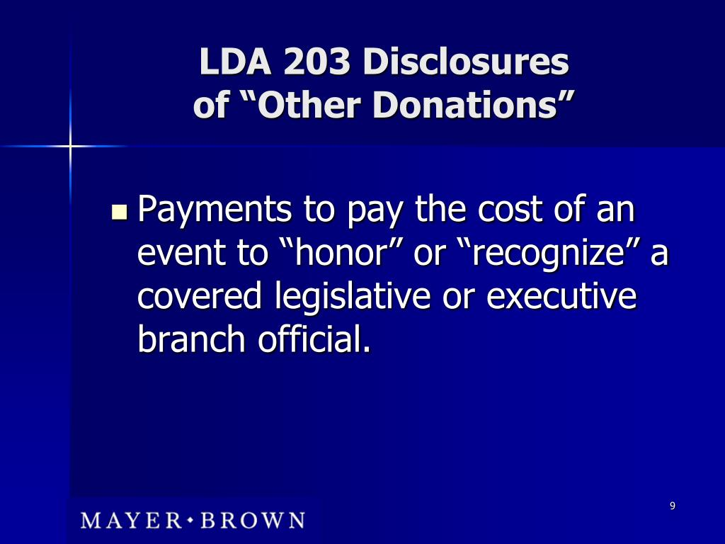LDA 203 Disclosures