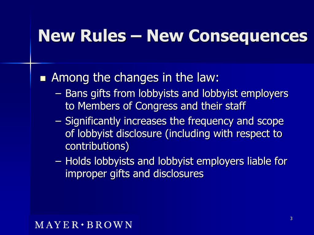 New Rules – New Consequences
