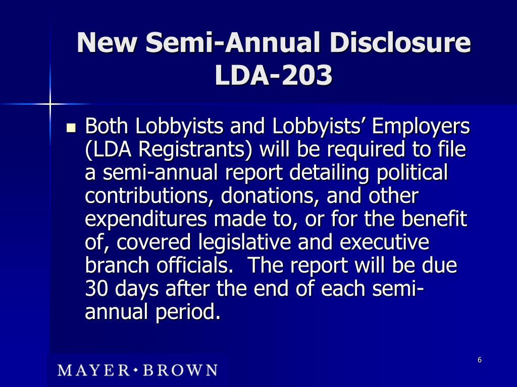 New Semi-Annual Disclosure LDA-203
