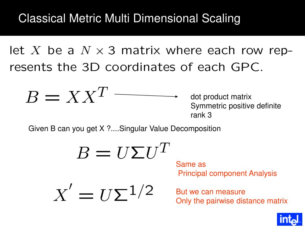 Classical Metric Multi Dimensional Scaling