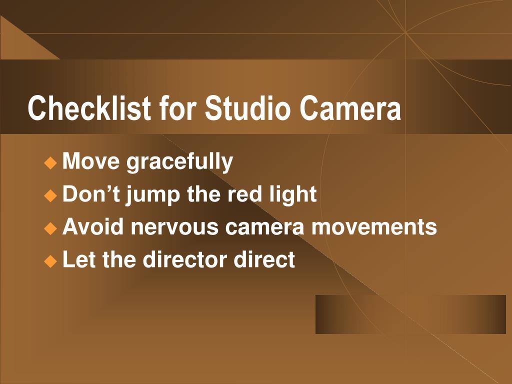 Checklist for Studio Camera