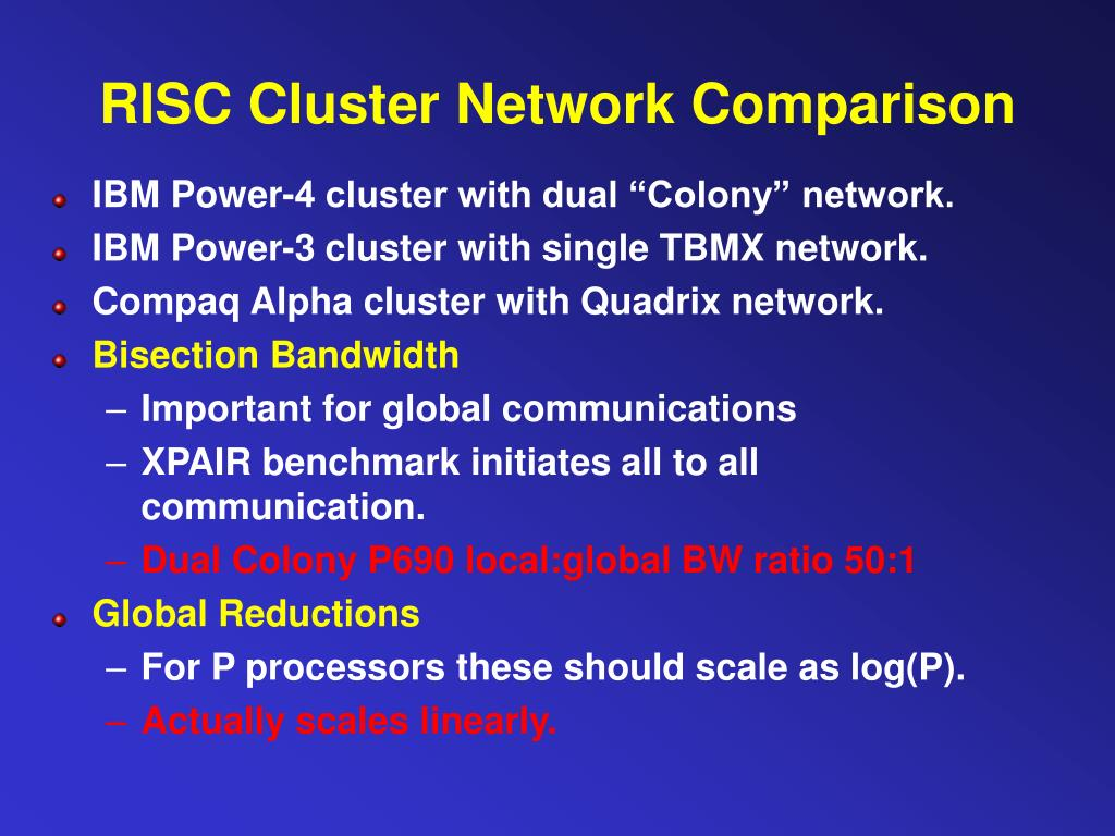 RISC Cluster Network Comparison