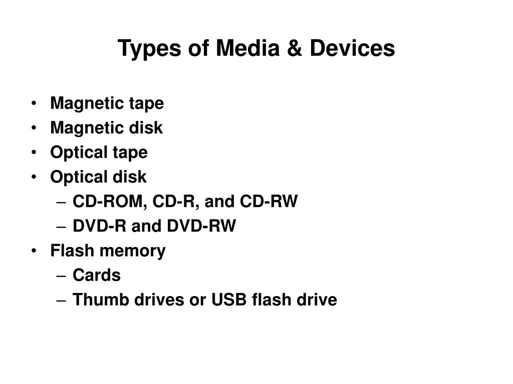 Types of Media & Devices