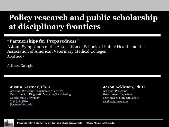 Policy research and public scholarship at disciplinary frontiers