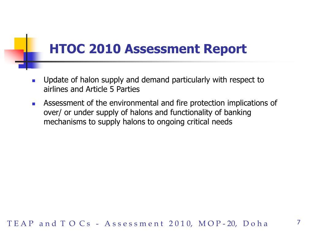HTOC 2010 Assessment Report
