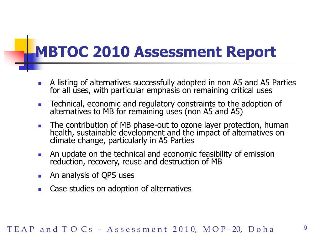 MBTOC 2010 Assessment Report