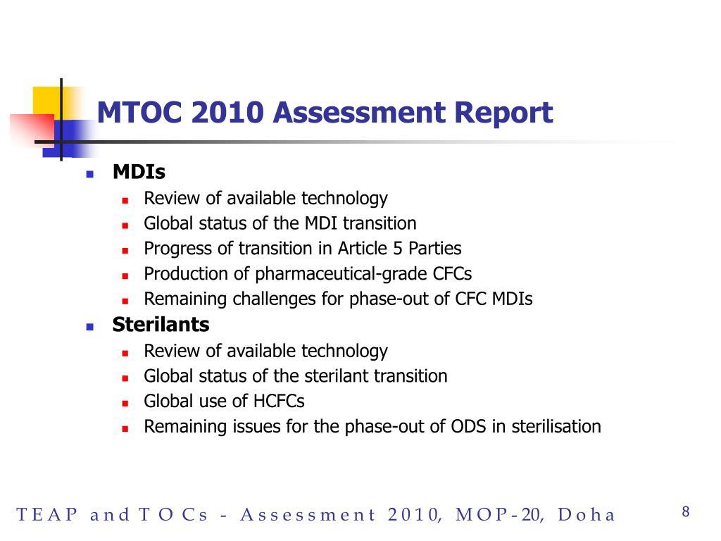 MTOC 2010 Assessment Report