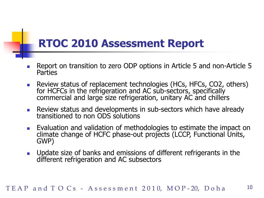 RTOC 2010 Assessment Report
