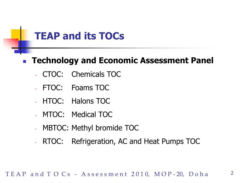 TEAP and its TOCs