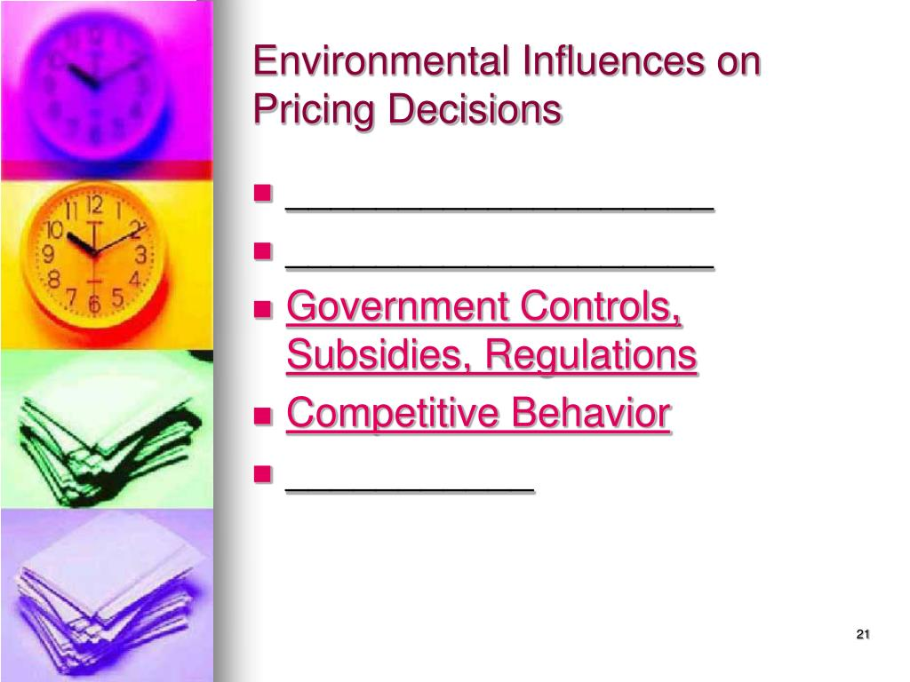 Environmental Influences on Pricing Decisions